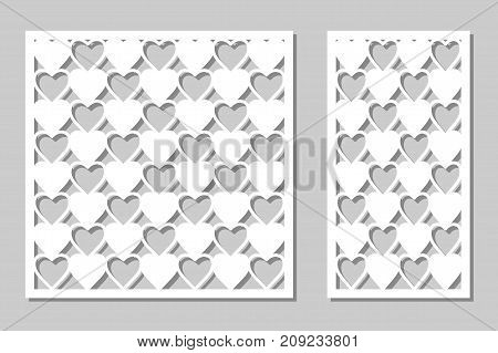 Set decorative panel laser cutting. wooden panel. Modern, elegant geometric heart patterns. Ratio of 1:2, 1:1. Vector illustration.
