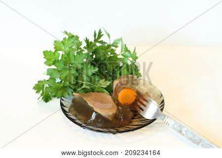 Jellied With Meat, Carrots, Parsley, Meat Filling, Horseradish