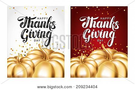 Happy thanksgiving day greeting card. Template lettering. Gold pumpkin, thanksgiving composition greeting card, menu, decoration, invitation. Golden logotype pumpkin, lettering card, invitation