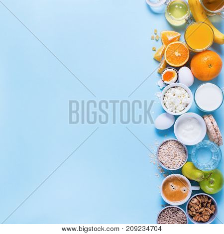 Useful Colorful Breakfast Coffee Milk Tea Fruits