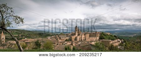 Old Urbino, Italy, Cityscape At Dull Day