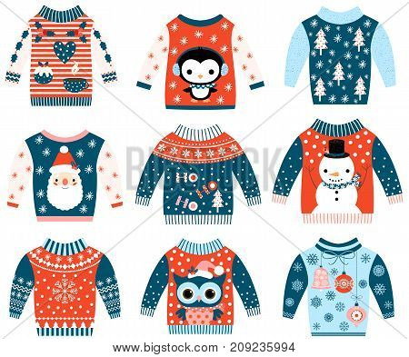 Winter and Christmas vector ugly and cute sweaters in flat style in blue and red colors