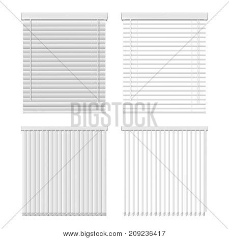 Vector set of horizontal and vertical window blinds. Window shutter realistic illustration.