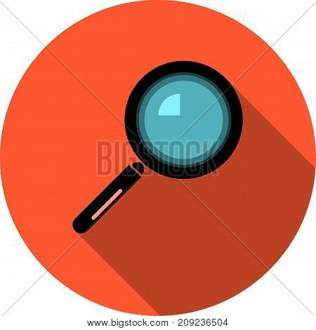 magnifying glass round colored vector icon with long shadow