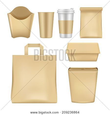 Vector fast food package set. Realistic empty takeaway food packaging templates isolated on white background.