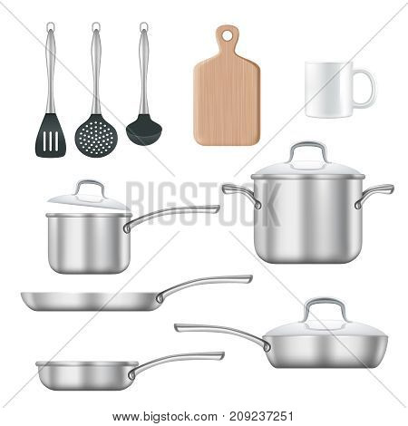 Vector set of kitchen utensils. Cooking pan, frying pan, cutting board, etc realistic 3d illustration isolated on white background.