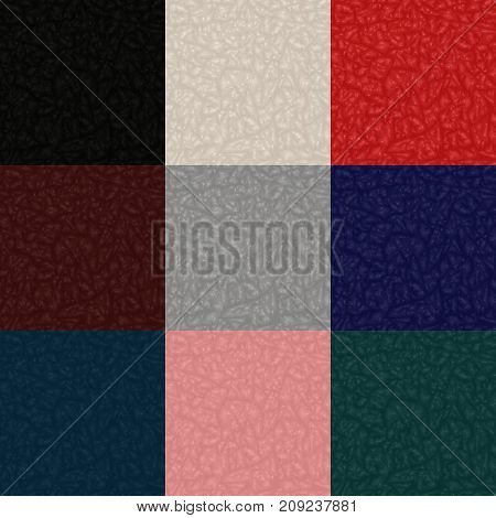 Collection of crumpled seamless textures (paper, leather, fabric, bark)