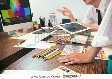 Artist creative meeting or brainstorming graphic design concept.