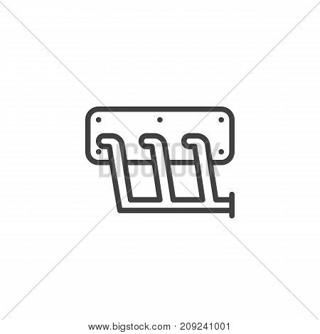 Car exhaust manifold line icon, outline vector sign, linear style pictogram isolated on white. Symbol, logo illustration. Editable stroke