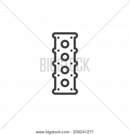 Engine cylinder head line icon, outline vector sign, linear style pictogram isolated on white. Symbol, logo illustration. Editable stroke