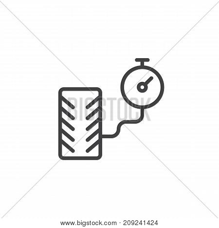 Tire pressure and manometer line icon, outline vector sign, linear style pictogram isolated on white. Symbol, logo illustration. Editable stroke