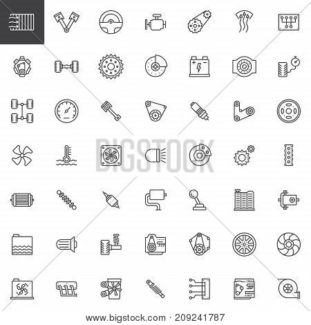 Car parts line icons set, outline vector symbol collection, linear style pictogram pack. Signs, logo illustration. Set includes icons as engine, tire, gear, radiator, suspension, transmission, gasoline