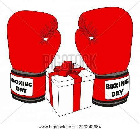 Happy Boxing Day Concept showing pair of Santa Clause cloves with gift box on isolated background