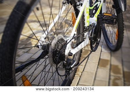 Selective focus of Bicycle gears and rear derailleur.