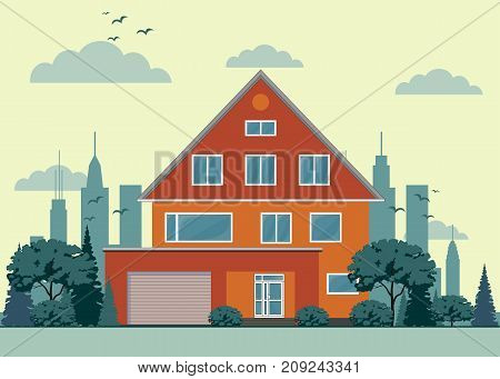 private house with garage . Stock flat vector illustration.