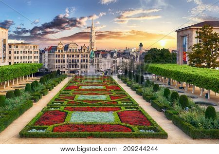 Brussels at a dramatic sunset in Belgium