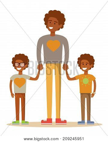 3 brothers isolated on white. Brotherly love. Stock vector illustration for poster, greeting card, website, ad, business presentation, advertisement design.