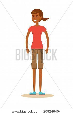attractive girl in the park. Stock flat vector illustration.