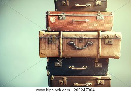 Vintage Ancient Luggage Suitcases Ancient Shabby