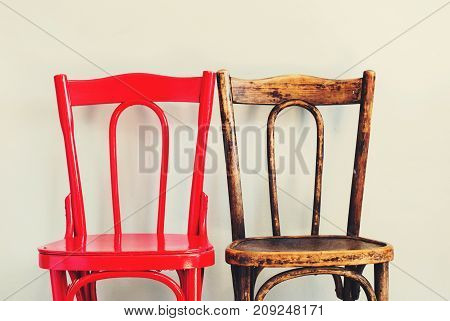 Pair Red Brown Chairs Near Beige Wall Interior