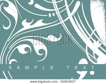 floral green background of creative curves and swirls poster