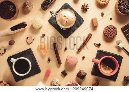 coffee cup and beans at paper background