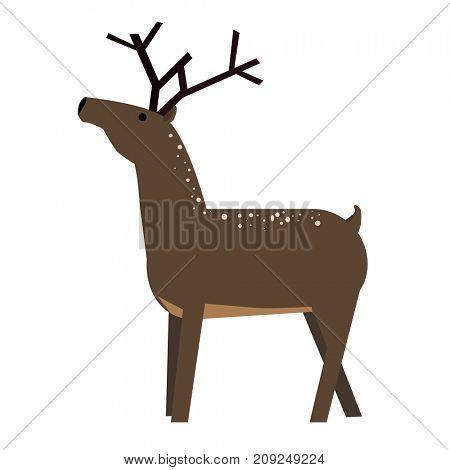 Cute cartoon deer.  Illustration isolated on background