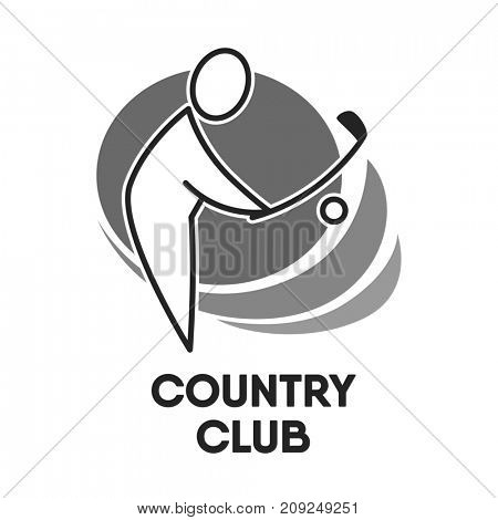 Golf country club logo colorless template on white.  illustration in flat design of human silhouette kicking small ball with special stick. Outdoor gaming concept on label in grey color