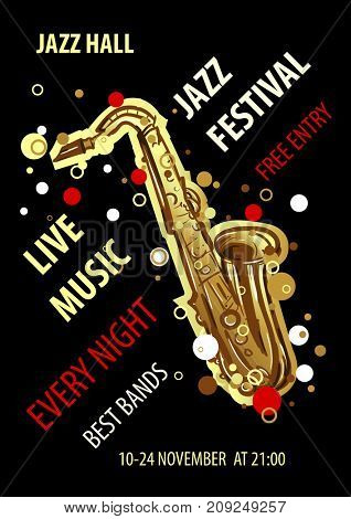 Retro styled Jazz festival Poster. Abstract style  illustration. Jazz music festival, poster background template.