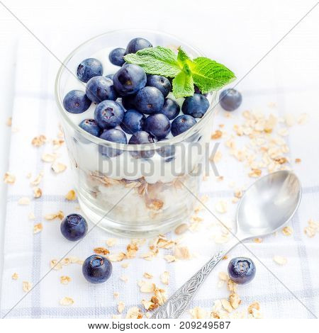 Healthy breakfast of homemade granola cereal with blueberries nuts and fruit honey with drizzlier background. Morning food Diet Detox Clean Eating Vegetarian concept.