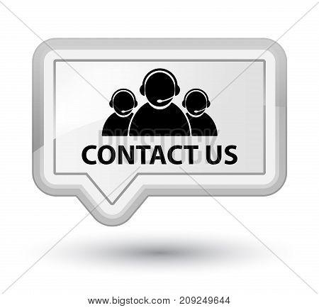 Contact Us (customer Care Team Icon) Prime White Banner Button