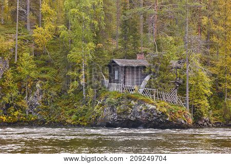 Finland forest landscape at Pieni Karhunkierros trail. Autumn season. Horizontal