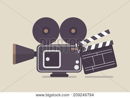 Retro movie camera and movie clapper. Vector illustration