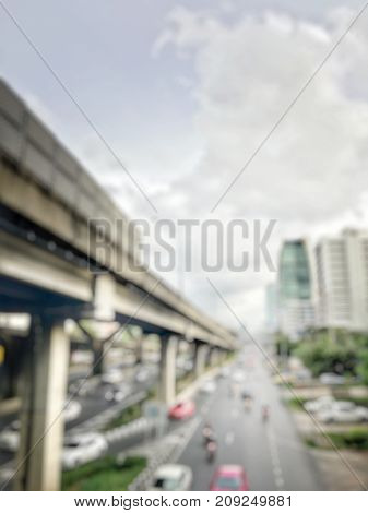 Abstract Blurred Image Of Evening Traffic Jam On Road, Blur Of Vehicles Cars, Saloon, Bus, Motorcycl