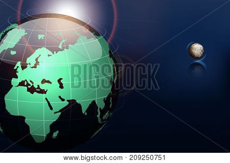 The moon to revolve around the moon on a background of blue sky. Vector illustration.