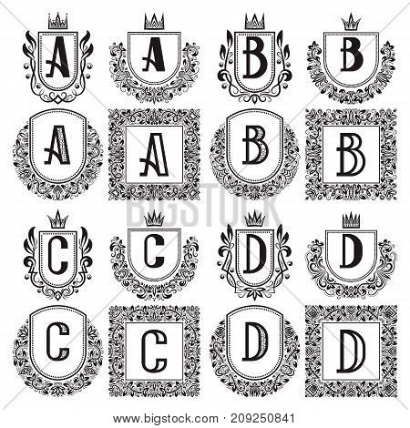 Isolated vintage monograms set. Heraldic logos with A, B, C, D letter. Black coats of arms in wreaths, round and square frames.