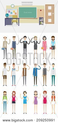 Front Class Background with Character | set of vector background and character illustration use for business, education, marketing and much more.The set can be used for several purposes like: websites, print templates, presentation templates, and promotio