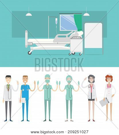 Sickroom Background with Character | set of vector background and character illustration use for business, education, marketing and much more.The set can be used for several purposes like: websites, print templates, presentation templates, and promotional