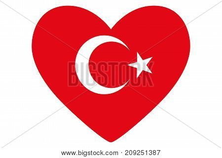 Heart in colors and symbols of the Turkish flag vector