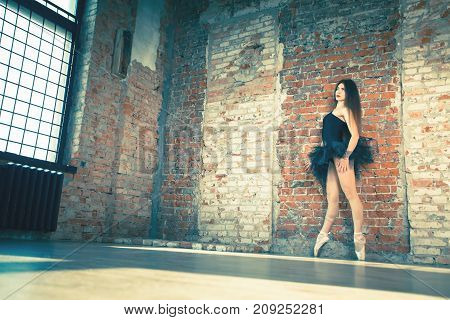 Ballerina dancing indoor, vintage. Healthy lifestyle ballet. Grace and performance of young beautiful girl. Ballet school. Stretching exercises. One day ballerina