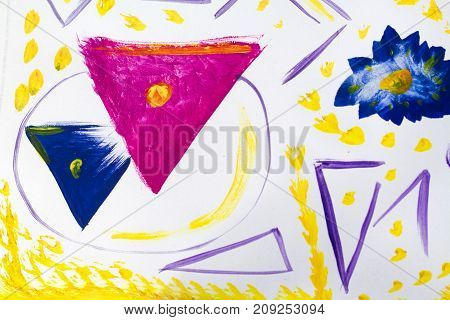 Geometric Abstract Color Paints Design - Shapes And Lines