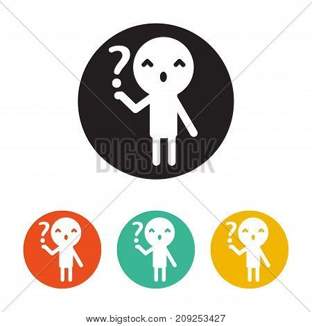 Icon person hold the question. Flat Design Style. vector button