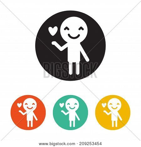Lover Man rounded icon. Style is a flat lover man symbol inside black circle with green, red, orange color versions. Vector designed for web and software interfaces.