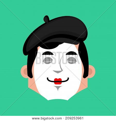 Mime Sleep Emotion Avatar. Pantomime Sleeping Emoji. Mimic Face. Vector Illustration