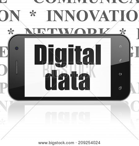 Information concept: Smartphone with  black text Digital Data on display,  Tag Cloud background, 3D rendering