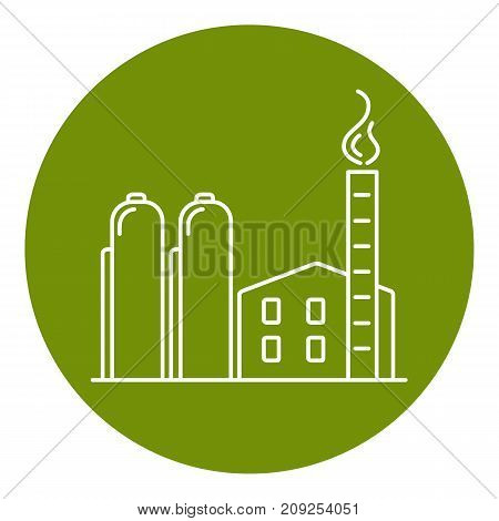 Natural gas plant icon in thin line style. Non-renewable energy industrial concept. Fossil fuel energy symbol in round frame.