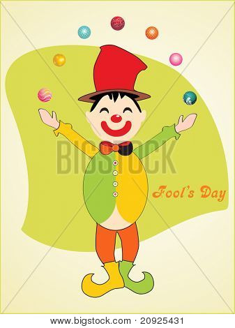 joker juggling balls with green background, vector wallpaper