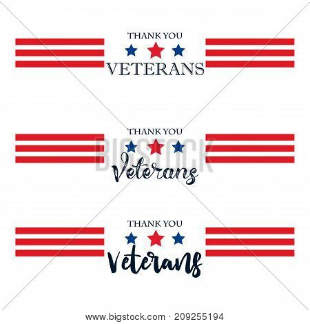 Day veteran usa banner vector illustration flat text texture scrapes
