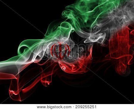 Iran smoke flag isolated on black background
