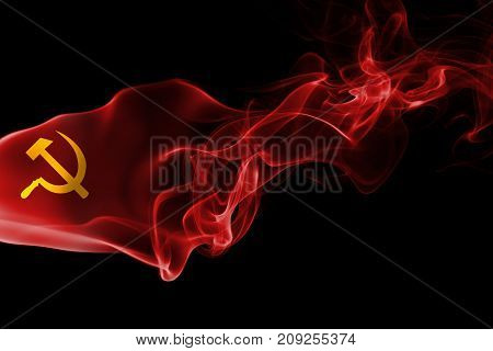 Communist smoke flag  isolated on black background